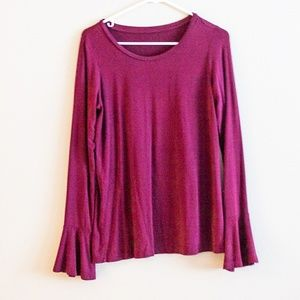 Burgundy Red Oversized Blouse With Ruffled Sleeves